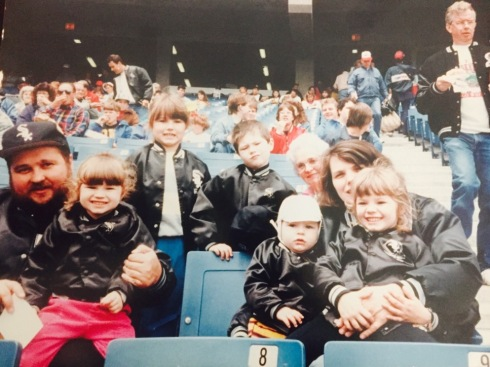 The 1st game at New Comiskey Park Left to right: my dad, Genevieve, Stephanie, Stanley, me, Grandma, mom, Becky (Zack would be born 3 months later)
