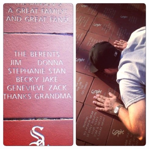 The family memorial brick outside of U.S. Cellular Field